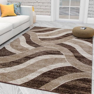 City Collection Contemporary Sculpted Effect Abstract Waves Beige/Brown Polypropylene Area Rug (5'3 x 7'3)