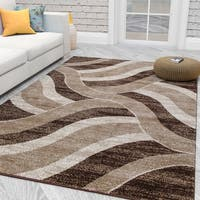City Collection Contemporary Sculpted Effect Abstract Waves Beige/Brown Polypropylene Area Rug - 5'3 x 7'3