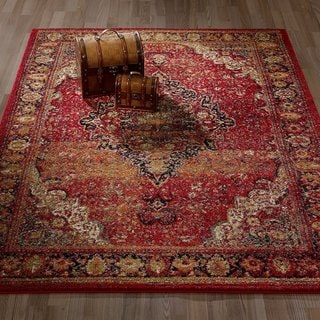 City Collection Sculpted Effect Antique Faded Medallion Red Polypropylene Area Rug (5'3 x 7'3)