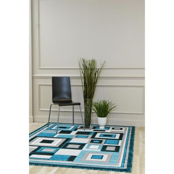 "Persian Rugs Turquoise Polypropylene Color-blocking Mini-squares Area Rug - 7'10"" x 10'6"""