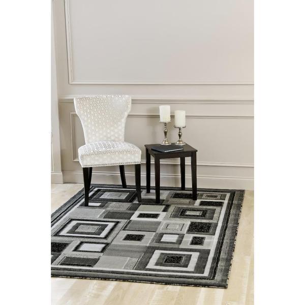 Persian Rugs Color Blocking Mini Squares Grey Polypropylene Area Rug - 7'10 x 10'6