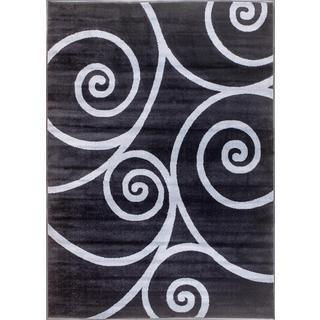Persian Rugs Swirl Lines Grey Polypropylene Area Rug (5'2 x 7'2)