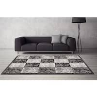 "Persian Rugs Floral Chess Grey Polypropylene Area Rug - 7'10"" x 10'"