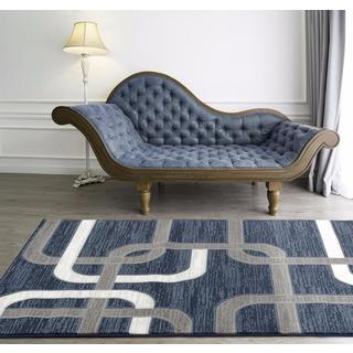 Persian Rugs Abstract Lines Blue Polypropylene Area Rug (5'2 x 7'2)