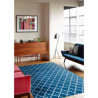 Persian Rugs 9070 Collection Moroccan Trellis Turquoise/White Area Rug (7'10 x 10'0)