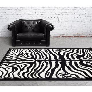 Persian Rugs Black/White Zebra-pattern Area Rug (7'10 x 10')
