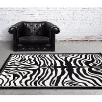 "Persian Rugs Black/White Zebra-pattern Area Rug - 7'10"" x 10'"