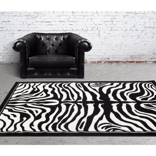 "Persian Rugs Black/White Zebra-pattern Area Rug - 7'10"" x 10'"