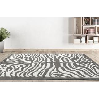 Persian Rugs Zebra Grey/White Area Rug (7'10 x 10'0)