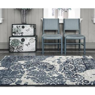 Persian Rugs Oriental Compass Blue Polypropylene Area Rug (7'10 x 10'0)