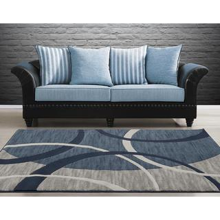 Persian Rugs Modern Arcs and Shapes Blue Polypropylene Area Rug (5'2 x 7'2)