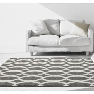 Persian Rugs Modern Grey Trellis Polypropylene Area Rug (5'2 x 7'2)