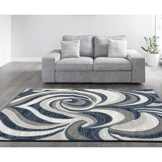 Persian Rugs Flower Swirl Blue Polypropylene Area Rug (7'10 x 10'0)