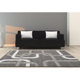 Persian Rugs Grey Abstract Lines Polypropylene Area Rug (7'10 x 10'0)