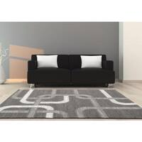 """Persian Rugs Grey Abstract Lines Polypropylene Area Rug - 7'10"""" x 10'"""