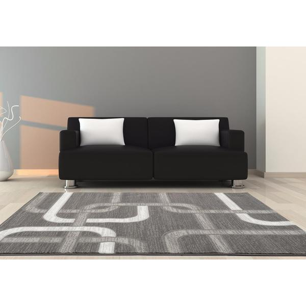 "Persian Rugs Grey Abstract Lines Polypropylene Area Rug - 7'10"" x 10'"