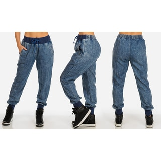 Women's Blue Soft Cotton Pull-on Denim Jogger Pants