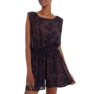 Handcrafted Rayon 'Banana Bark in Copper' Romper (Indonesia)