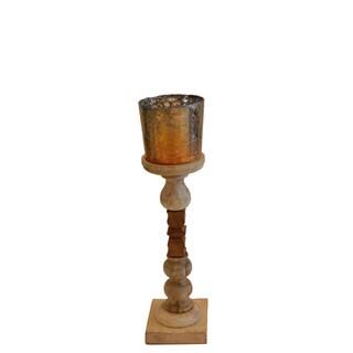 Brunei Mango Gold Wood/Glass Candleholder