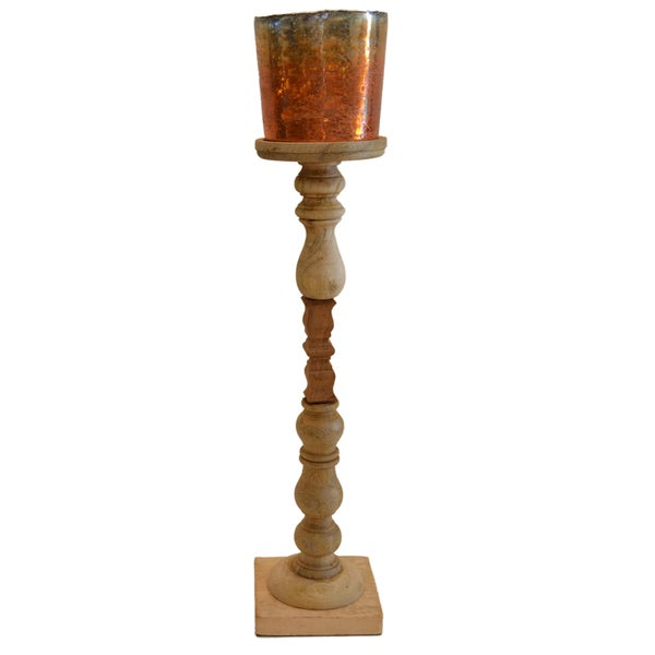 Mango Gold Wood/Glass Candleholder