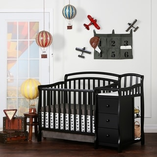 Dream On Me Casco Black Wood 4-in-1 Mini Crib and Changing Table