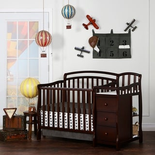 Dream On Me Casco Brown Wood 4-in-1 Mini Crib and Changing Table