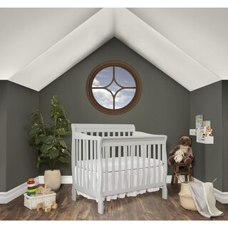 Dream On Me Aden Grey Wood Convertible 4-in-1 Mini Crib