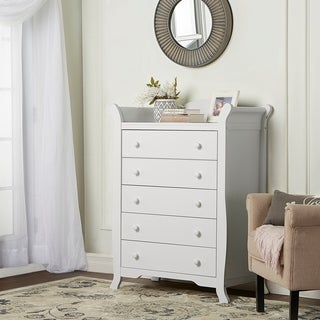 Dream On Me Alissa 5-drawer White Wood Sleigh Chest