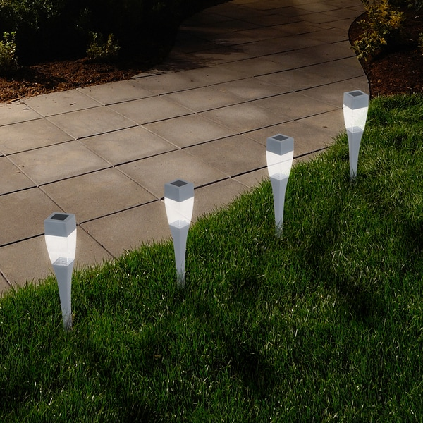 Small Garden Solar Spot Lights: Shop Pure Garden Modern Silver Solar LED Pathway Lights