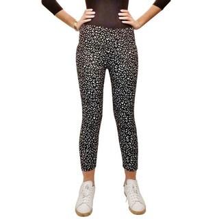 Riviera Juniors' Black Faux Fur Printed Leggings