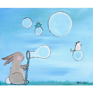 Marmont Hill - 'Andrea Bunny Bubbles' by Andrea Doss Painting Print on Wrapped Canvas - Blue (3 options available)