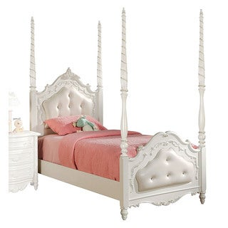 Acme Furniture Pearl Poster Tufted Bed, Pearl White & Gold Brush Accent