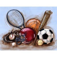 Marmont Hill - 'Varsity Gear' by Reesa Qualia Painting Print on Wrapped Canvas - Red
