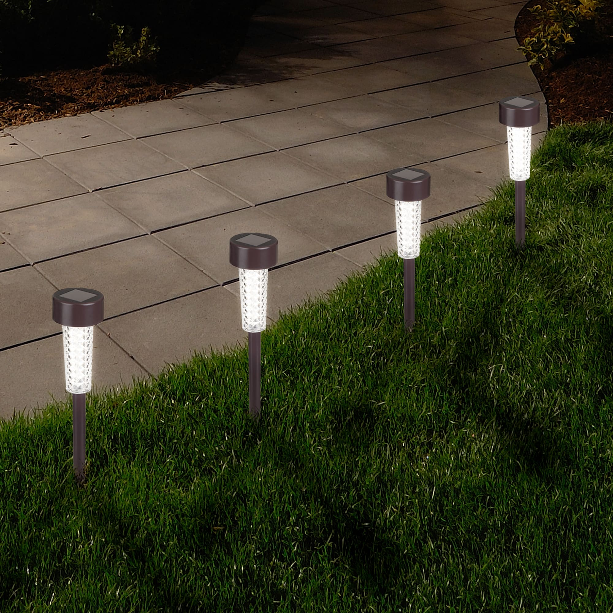 Pure Garden Textured Bronze LED Solar Path Lights (Set of...