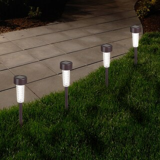 Pure Garden Textured Bronze LED Solar Path Lights (Set of 6)