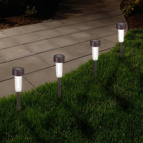 Pure Garden Textured Bronze Led Solar Path Lights Set Of 6 Free Shipping On Orders Over 45