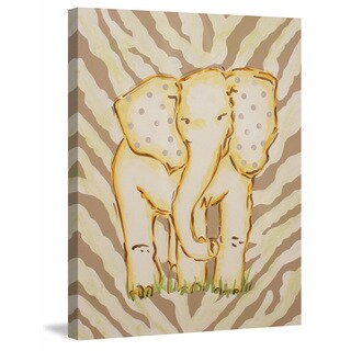 Marmont Hill - 'Tan Elephant' by Reesa Qualia Painting Print on Wrapped Canvas