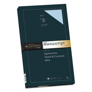 Southworth 25-percent Cotton Manuscript Covers Blue 30-pound Wove 9 x 15 1/2 100 Sheets