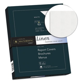 Southworth 25-percent Cotton Linen Business Coverstock White 65-pound 8 1/2 x 11 100 Sheets