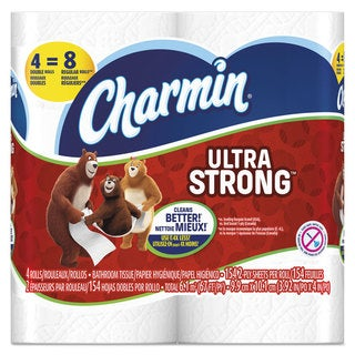Charmin Ultra Strong Bathroom Tissue 2-Ply 4x3.92 154/Roll 4 Roll/Pack 12Pack/Carton