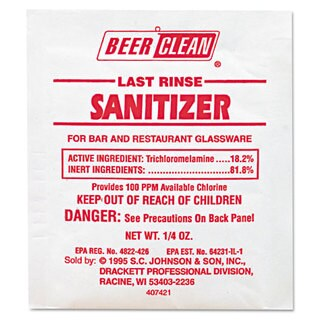 Diversey Beer Clean Last Rinse Glass Sanitizer Powder .25-ounce Packet 100/Carton