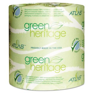 Atlas Paper Mills Green Heritage Toilet Tissue 4 1/2 x 3 1/10 Sheets 2Ply 500/Roll 96 Rolls/Carton
