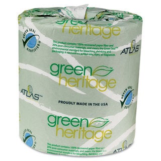 Atlas Paper Mills Green Heritage Toilet Tissue 4 1/2 x 3 1/2 Sheets 2-Ply 500/Roll 96 Rolls/Carton