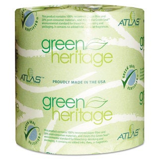 Atlas Paper Mills Green Heritage Toilet Tissue 4 1/10 x 3 1/10 Sheets 2Ply 500/Roll 96 Roll/Carton