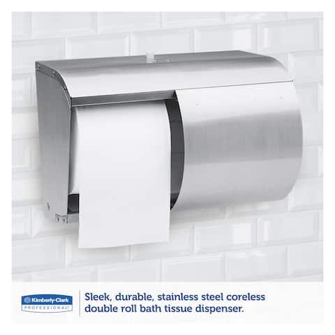 Kimberly-Clark Professional Coreless Double Roll Tissue Dispenser 7 1/10 x 10 1/10 x 6 2/5 Stainless Steel
