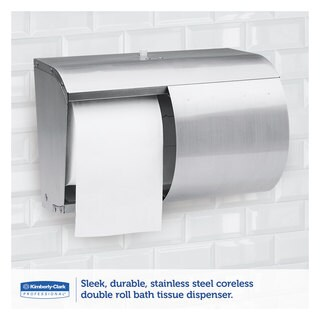 Kimberly-Clark Professional Coreless Double Roll Tissue Dispenser 7 1/10 x 10 1/10 x 6 2/5 Stainless Steel
