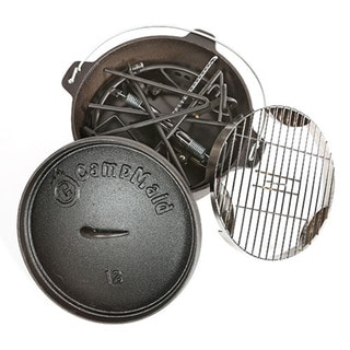 Campmaid Steel Frame Combo Set Lid Lifter, Flip Grill, Charcoal and Wood Holder Heat Source, KickStand and 12-inch Oven
