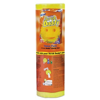 Scrub Daddy Scratch-Free Scrubbing Sponge 4 1/8-inch Diameter Yellow Polymer Foam 8/Pack