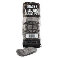GMT Industrial-Quality Steel Wool Hand Pad #3 Medium 16/Pack 192/Carton