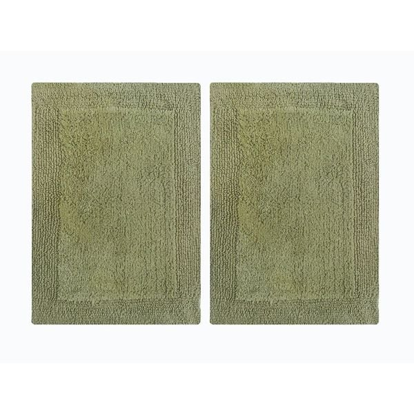 """Splendor Reversible 2-Piece Step Out Bath Mat Set - Green 17x24"""""""